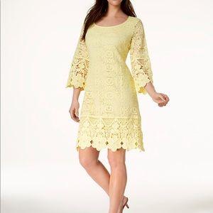 Alfani yellow lace dress 🌼🌼 crochet trim